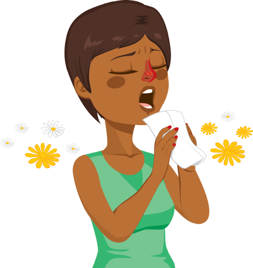 sneezing lady with flowers