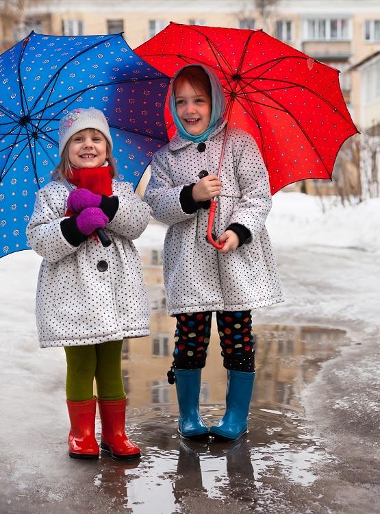 Rainy Day Girls with Umbrellas
