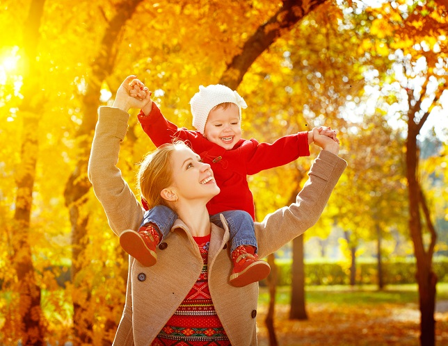 Autumn Mom with Girl